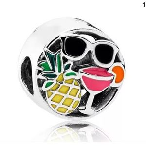S925 Sterling Silver Summer Hawaiian Pineapple Charm For Pandora